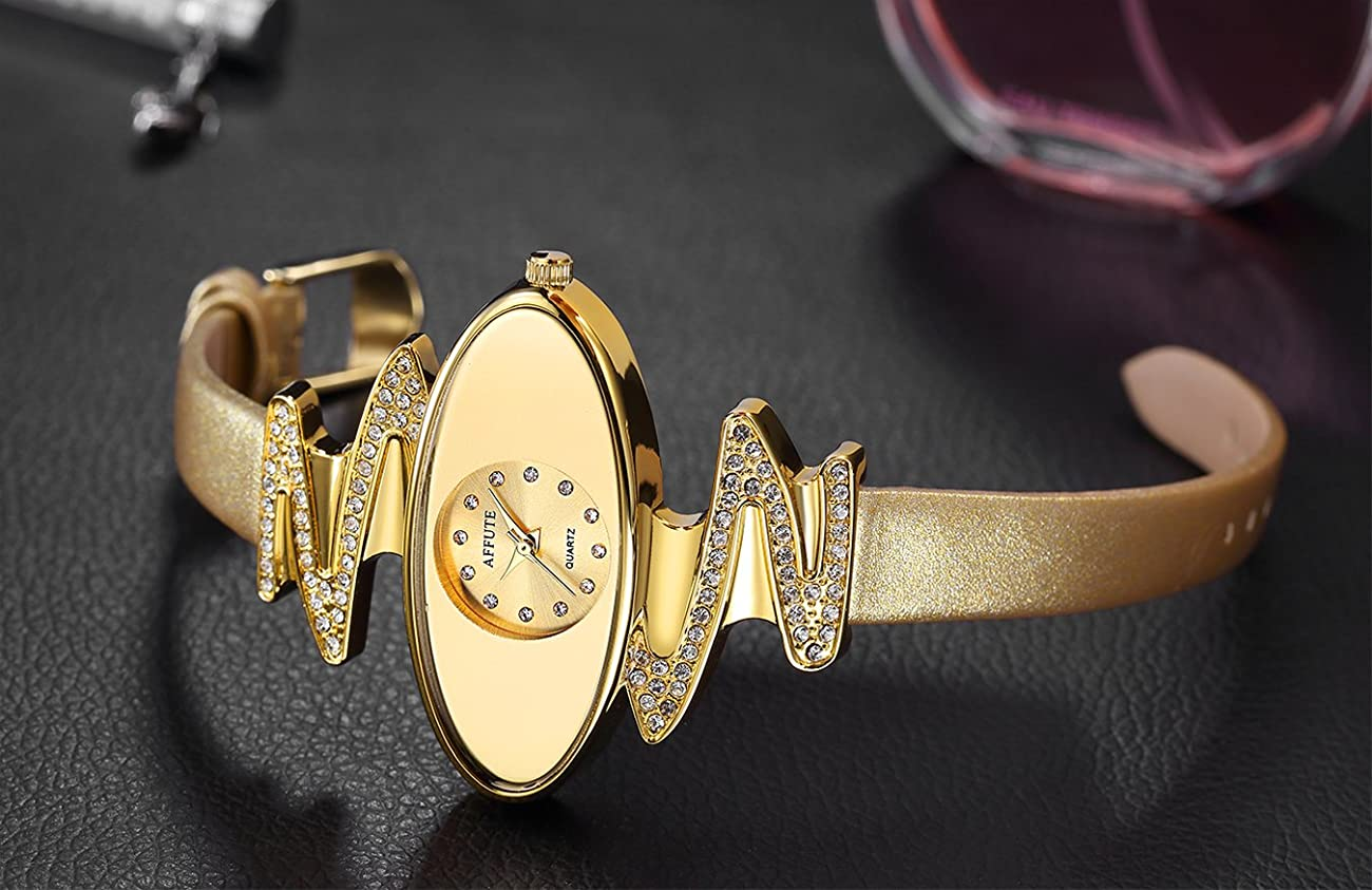 Retro Gold Leather Strap Brand Women Watch Strass Rhinestone Jewelry Quartz Wrist Watches 3