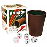 Cubilete Cup with Spanish Poker Dice Set. Imported from Spain by Sentir Cubano