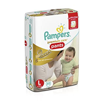 Image result for Pampers Premium Care Large Size Diaper Pants (62 Count)