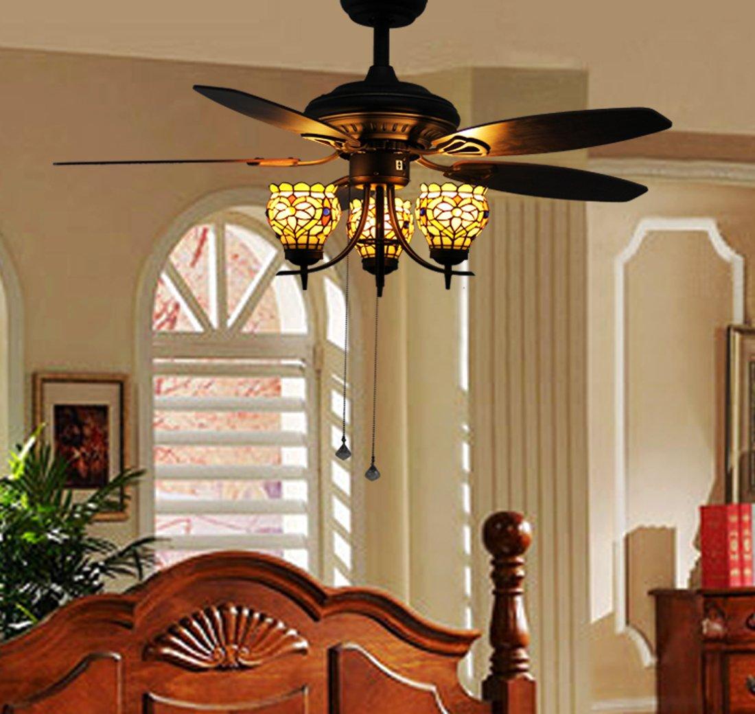 Makenier Vintage Tiffany Style Stained Glass 3-light Flowers Uplight 5-blade Ceiling Fan Light Kit 3