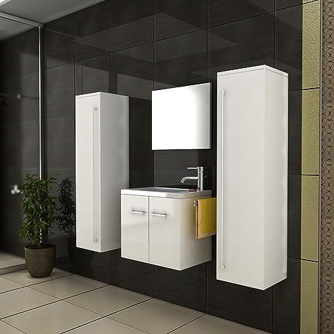 Set di mobili da bagno lavandino lavabo in ghisa minerale Mobiletto Bianco Lucido Due alto Armadi bagno per gli ospiti–Set da bagno