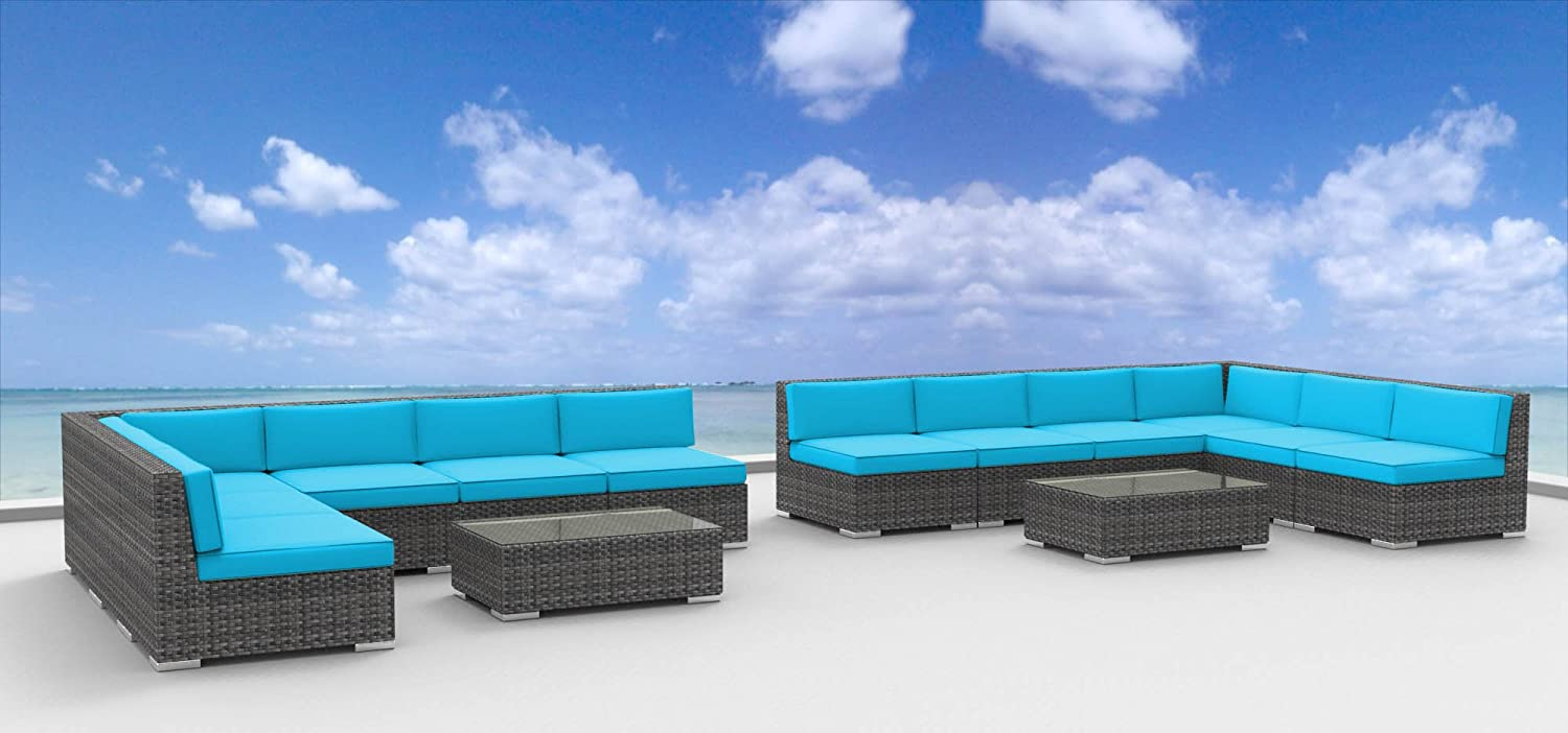 www.urbanfurnishing.net Urban Furnishing - VENICE 14pc Modern Outdoor Backyard Wicker Patio Furniture Sofa Sectional Couch Set - Sea Blue at Sears.com