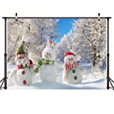 LYWYGG 7x5FT Vinyl Photography Backdrop Christmas Theme Cute Snowman White Snow Tree Photographic Background For Studio Photo Props CP-88 (Color: White, Tamaño: 7x5FT)