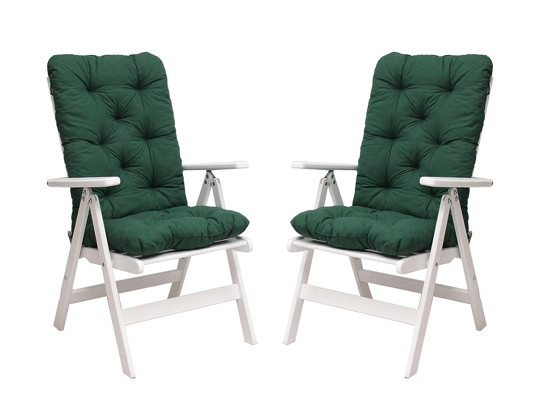Ambientehome 90490 2er Set verstellbar Hochlehner Stranda weiss inkl. grüne Auflage Gartenstuhl Holzstuhl ANGEBOT günstig bestellen