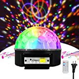 Disco Ball Lights,9 Color LED Stage Light Crystal Magic Ball Lamp Rotating Party Light Sound Activated Strobe Light MP3 Player with Remote Control and USB for Party Xmas Wedding (Disco Ball Light) (Color: Disco Ball Light)