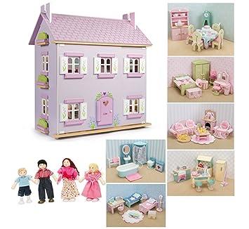 Le Toy Van-Maison de poupées en bois avec des meubles Lavander (6 ensembles de meubles de la ligne Margarita Poupées)