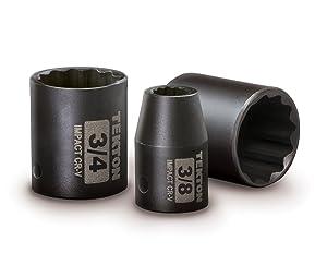 TEKTON 3/8-Inch Drive Shallow Impact Socket Set, Inch, Cr-V, 12-Point, 5/16-Inch - 1-Inch, 12-Sockets   47911 (Tamaño: Inch)
