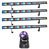 (4) Chauvet COLORSTRIP 4 Channel DMX LED Multi-Color DJ Light Bars+Moving Head