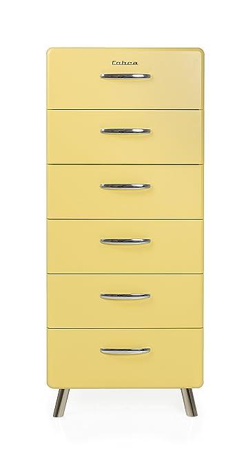 Tenzo 4516-075 COBRA SOFT Designer Chiffonnier avec 6 Tiroirs Panneaux de particules/MDF Jaune Pastel 56 x 43 x 130 cm