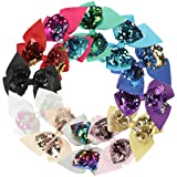 XIMA 12pcs 4.5inch Reversible Sequin Bows With Clips Grosgrain Ribbon Hair Bows Hairpin For Baby Girls Teens Toddlers Kids Children (12pcs-Bows with clips) (Color: 12pcs-Bows with clips, Tamaño: free)