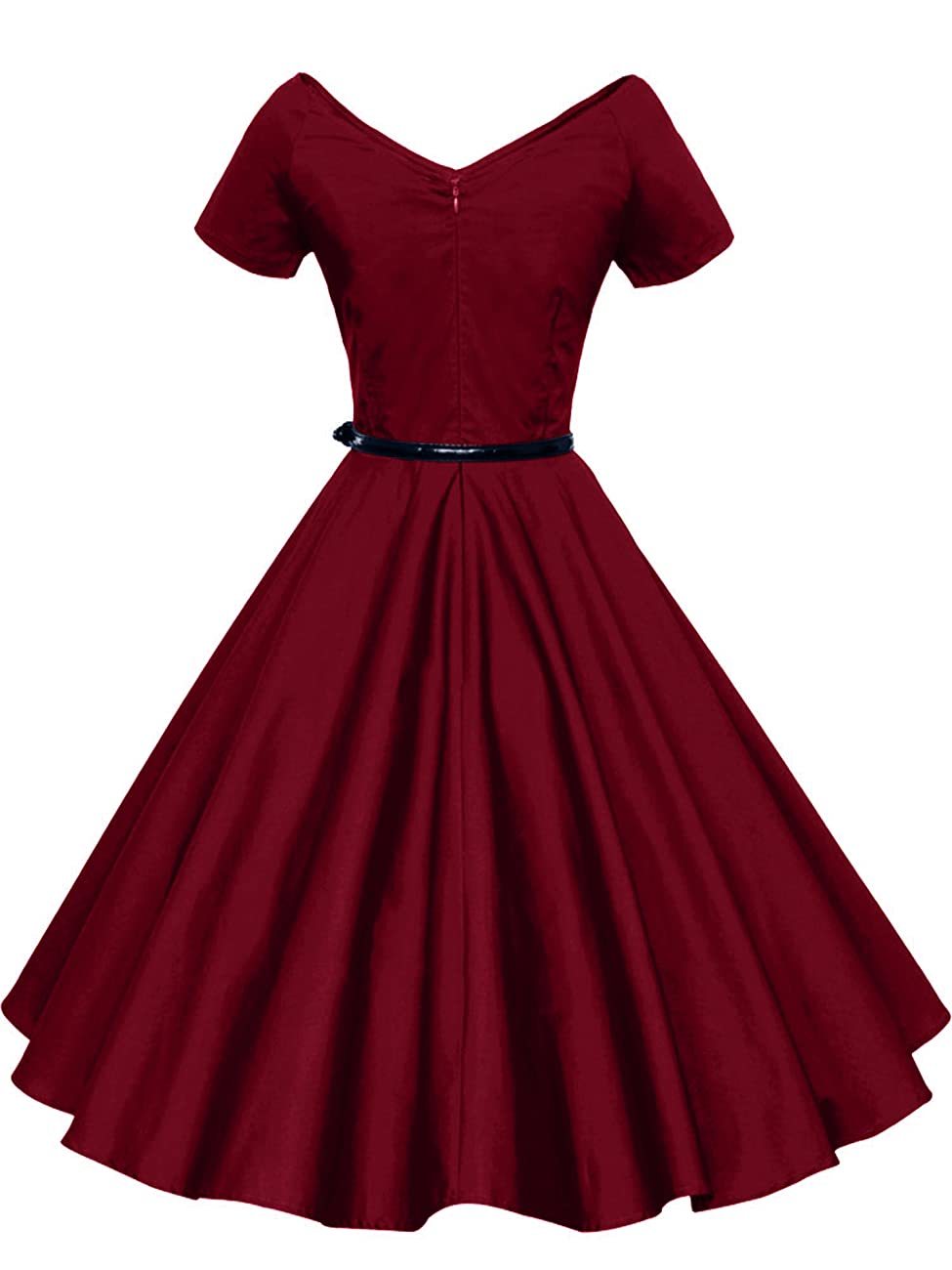 iLover Women 1950s V-Neck Vintage Rockabilly Swing Evening Party Dress 1