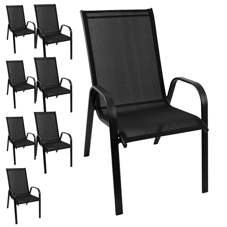 8 Stück Gartenstuhl stapelbar Gartensessel Stapelstuhl Stapelsessel Stahlgestell pulverbeschichtet mit Textilenbespannung Gartenmöbel Terrassenmöbel Balkonmöbel jetzt bestellen