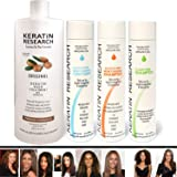 Brazilian Keratin Blowout Straightening Smoothing Hair Treatment 4 Bottles 1000ml Kit Includes Sulfate Free Shampoo Conditioner set by Keratin Research Queratina Keratina Brasilera Tratamiento (Tamaño: 10 ounces)