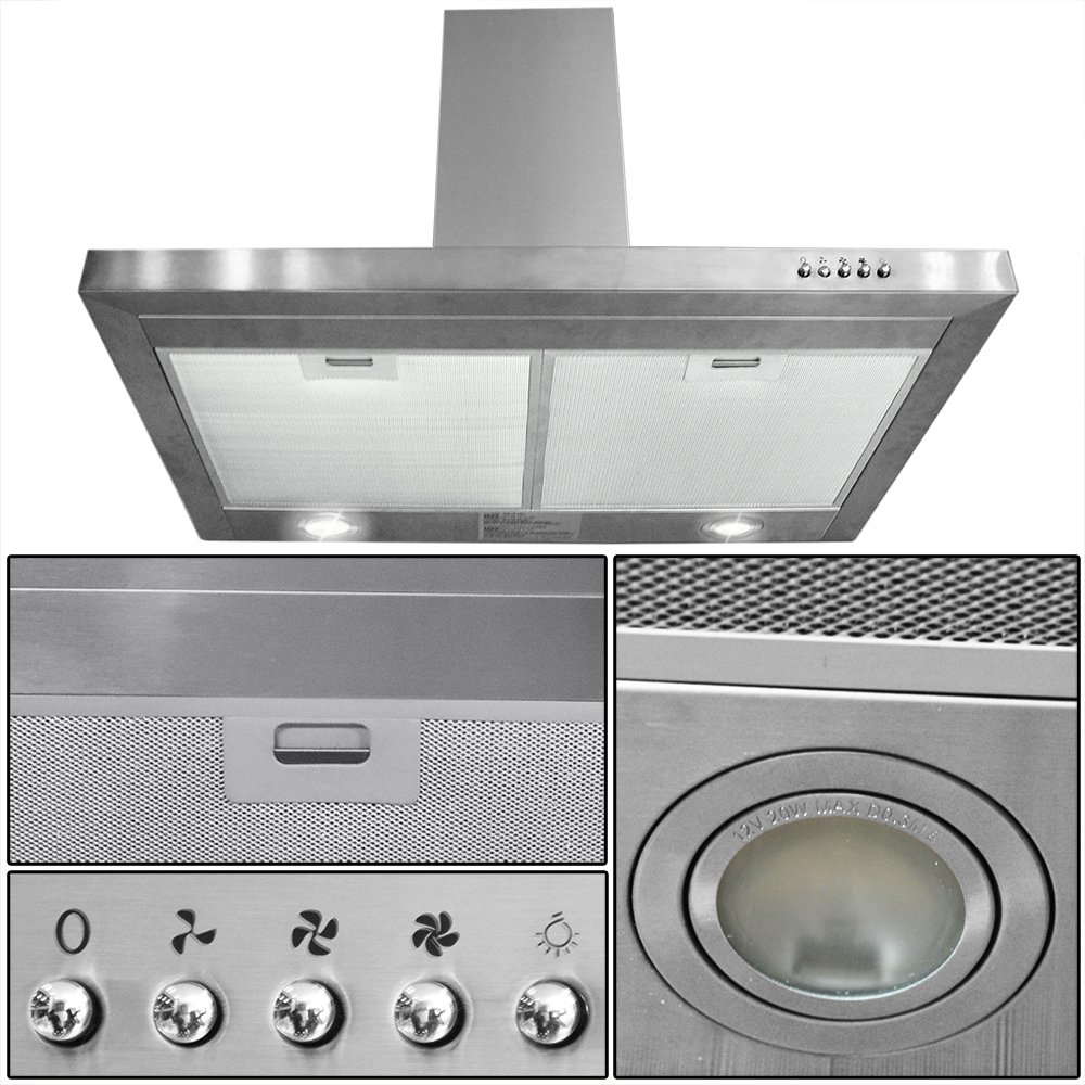 "30"" Stainless Steel Kitchen Powerful Wall Mount Range Hood Vent"