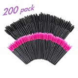 GoWorth 200 PCS Disposable Eyelash Mascara Brushes Makeup Brush Wands Applicator Makeup Kits(Rose Red & Black) (Tamaño: 200 PCS)