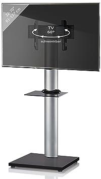 VCM 17128 TV-Standfuß Onu schwarzlack mit schwarzglas Zwischenboden mit Rollen