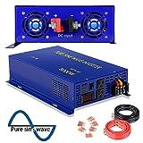 3000 Watt Pure Sine Wave Inverter 12V DC to 120V AC, 3000W Power Invert Surge 6000W Power Converter for Solar System. (3000W 12V 120V) (Color: Blue, Tamaño: 3000W/12V)