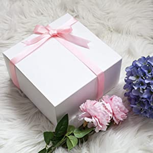 Giftol Large Gift Box 20 Pack 8 x 8 x 4 inches Fold Box Paper Gift Box Bridesmaids Proposal Box for Bridal Birthday Party Christmas(White) (Tamaño: 8×8×4(20Pack))