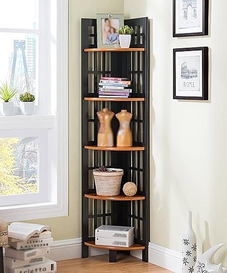 5 strati Scaffale Libreria d'angolo della camera da letto Scaffale d'angolo Scaffale di seta della stanza da salotto, 3 formati sono disponibili ( Colore : B , dimensioni : 450*1530mm )