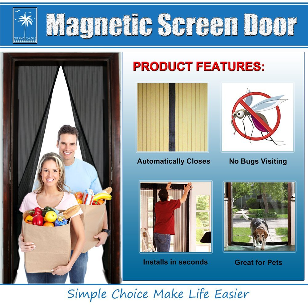 "Magnetic Screen Door(2 Pack Full Frame Velcro Included)-Super Fine Fly Mesh Great For Pets Keep Bugs Out Fits Door Openings up to 34""x82""(True Black)"