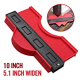 10 Inch Widen Contour Gauge Duplicator, Contour Tool Profile Guide for Woodworking Project Copy Layout Shape and Tracing Pipe Tile Cutting Measuring Tool, Extra Measure Depth (Red) (Color: Red, Tamaño: Large)