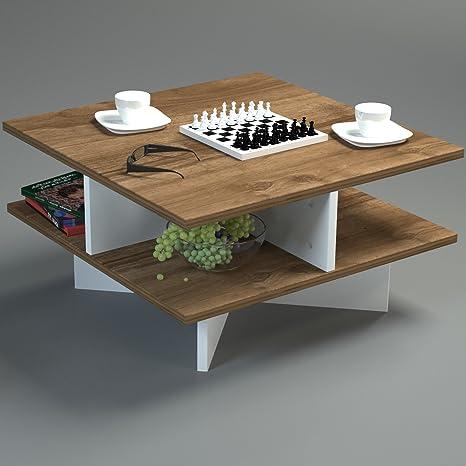 Mesa de centro hamton - de colour blanco/nogal - de la mesa de la sala de estar