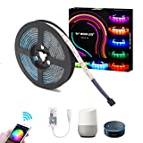 WOWLED Smart Controller WiFi LED Strip Light Work with Alexa Amazon Google Home, 5M 300 LED RGB Strip Multi Color Changing Waterproof IP65 12V for Club Bar Game Home Hotel Truck Boat Halloween Xmas (Color: Alexa 5m Wifi Rgb Strip (Not Include Power Adapter))