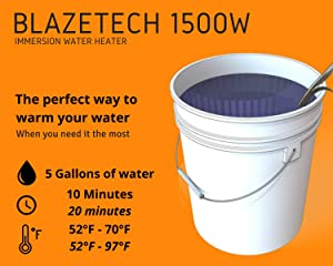 BlazeTech 1500W Immersion Water Heater | Premium Stainless-Steel Water Heater | Electric Bucket Heater | Heats 5 Gallons In Minutes | 120V Portable Water Heater | Camping | Hot Tub | Pool | Bathtub