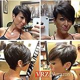 VRZ Short Human Hair Wigs Pixie Cut Black Wig with Side Bang Medium Cap Size None Lace wig Natural Color (XJK) (Color: XJK(NC))