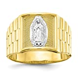 10k Yellow Gold Mens Our Lady Of Guadalupe Band Ring Size 10.00 Religious Man Fine Jewelry Gift For Dad Mens - Valentines Day Gifts For Him (Color: jajafook women men doublebeez rings wo)