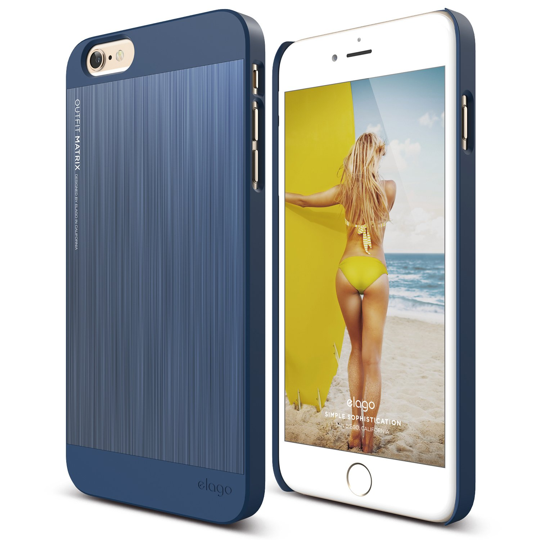 iPhone 6 Plus Case, elago S6+ Outfit MATRIX Aluminum and Polycarbonate Dual Case for the iPhone 6 Plus (5.5inch) - eco friendly Retail Packaging (Jean Indigo / Jean Indigo)