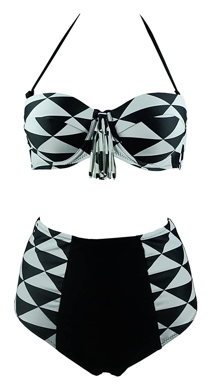Cocoship Retro Black White Geometric Patterns High Waist Bikini Tassel Swimsuit(FBA) 0