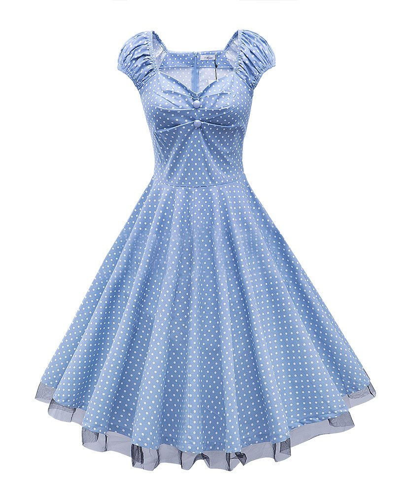 LECHEERS Women Polka Dot 1950's Vintage Swing Party Casual Dress 0
