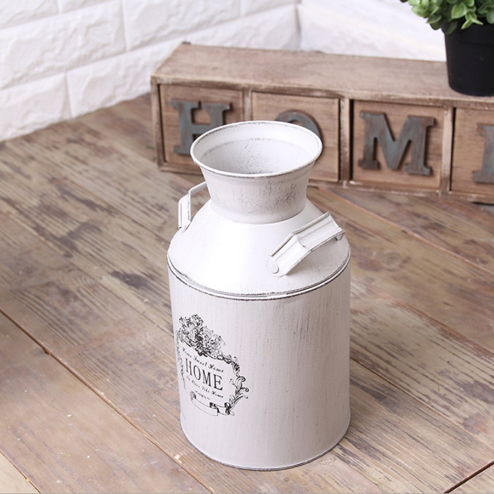 Watering Honey French Style Country Rustic Primitive Jug Vase Milk Can for Home Decoration 5