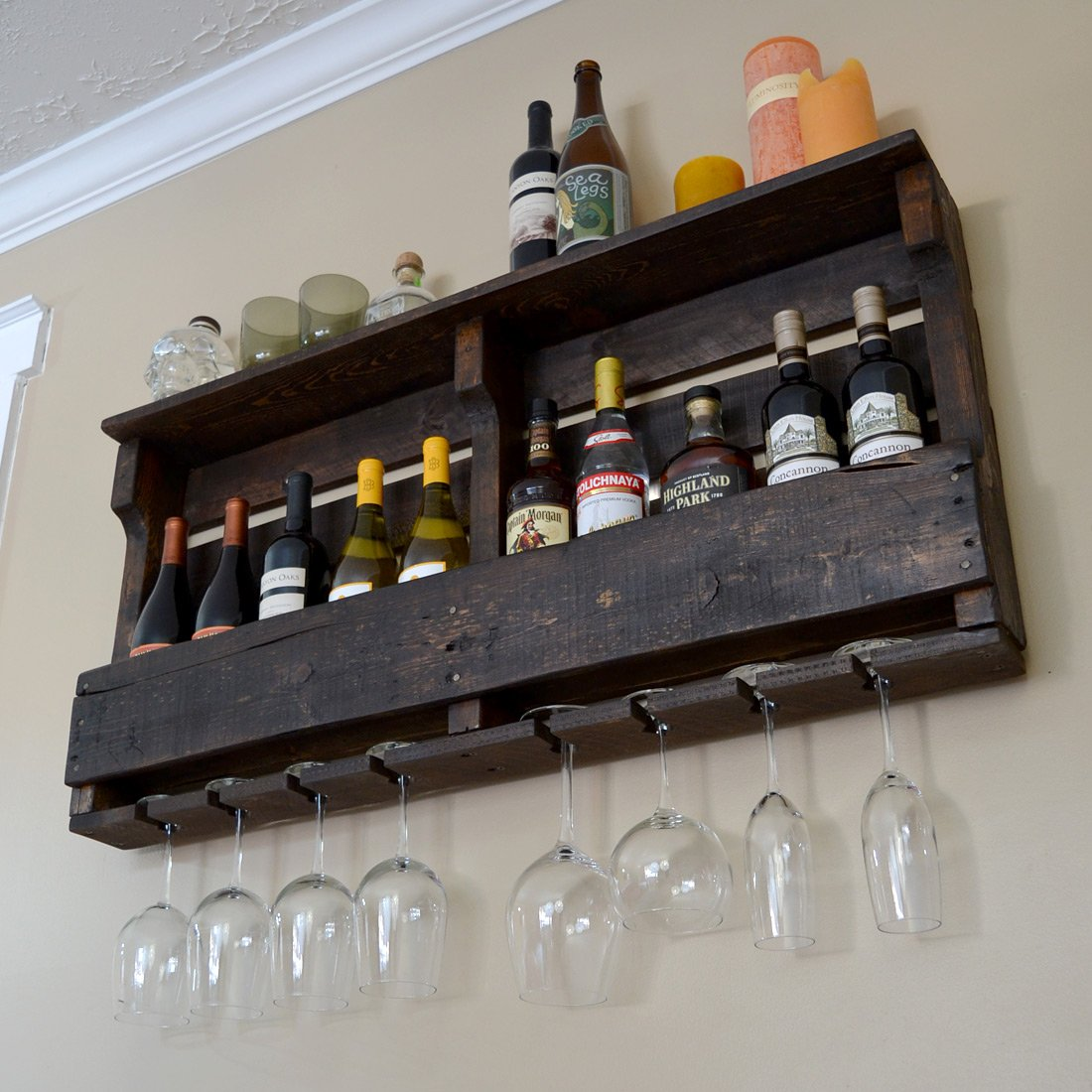 Great Lakes Reclaimed Wall Mounted Wine Rack ,(Espresso/Dark Walnut Stain Finish)