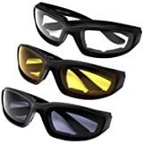All Weather Protective Motorcycle Riding Goggle Glasses 3 Pack Set Pouches NOT included (Assortment Pack)
