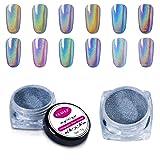 CLAVUZ 1g/Box Laser Holographic Nail Powder Rainbow Chrome Nail Powder Manicure Pigment Nail Art Tools (Color: LS01)