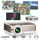 EUG 1280x800 Native 4200lumen Video Projector HD 1080P- Multimedia HDMI USB Aux Audio TV With Free HDMI Cable Built in Speaker Remote for Smartphone Xbox TV DVD PS4 (Color: 4200 lumen/ WXGA Projector)