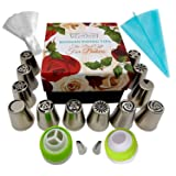 Russian Piping Tips Cake Cupcake Decorating Supplies Kit Icing Piping Tips Baking Supplies Set 12 Icing Nozzles 2 Couplers 10 Pastry Baking Bags 2 Leaf tips Silicone Bag Large Piping Tips Gift Box (Color: Stainless Steel)