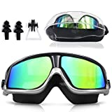 Sunnec Large Frame Swim Goggles, Colorful Swimming Glasses with Anti-Fog, UV Protection, Free Protection Case, Fit for Adult Men Women Youth (Color: silver)