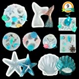 LET'S RESIN Resin Silicone Molds Set, 9pcs Resin Casting Molds, Ocean Sea Themed Resin Molds including Mermaid Tail, Seashell, Dolphin,Starfish, Sea Snails, Sea Horse etc (Color: sea style mold)