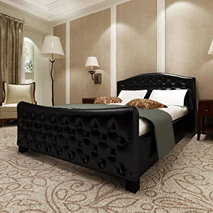 vidaXL Kunstlederbett Luxus Bett 140x200cm schwarz + Matratze