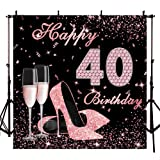 Mocsicka Happy 40th Birthday Backdrop 8x8ft High Heels Elegant Lady Photography Backdrops Rose Gold Diamond Backdrop for Pictures Champagne Photo Booth Props (Color: Rose Diamond High Heels-40, Tamaño: 8x8ft)