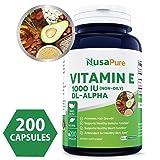 Best Vitamin E 1000 IU 200 Powder Caps (Non-Oily, Non-GMO & Gluten Free) - DL-Alpha Tocopherol - Antioxidant for Healthy Skin, Eyes & Hair - 100% Money Back Guarantee!