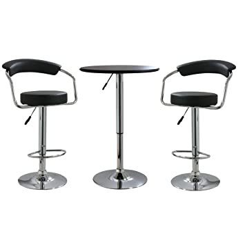 Peachy Sale Amerihome Bsset3 Black Vinyl Adjustable Bar Stool Set Ibusinesslaw Wood Chair Design Ideas Ibusinesslaworg