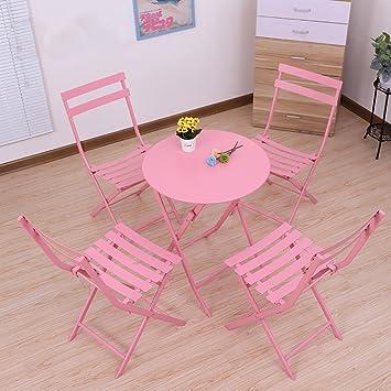 Gartenmöbel-Sets Funf Sets Von Eisen Tische Und Stuhle / Balkon Outdoor-Kombination Falten Sets / Garten Hof Falten Möbel Tische Stuhle Möbel Sets ( Farbe : A )