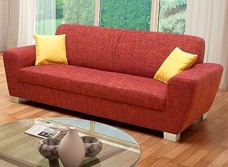 AVERSA 3er Sofa 3-Sitzer Sofa Couch Webware Bordeaux-Rot