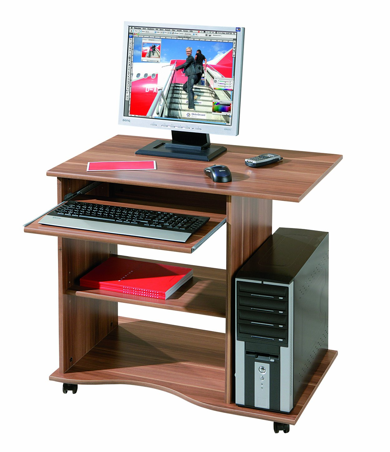 small computer desk walnut effect castors keyboard shelf office furniture ebay. Black Bedroom Furniture Sets. Home Design Ideas