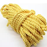 U Pick 10yds 5mm Decorative Twisted Satin Polyester Twine Cord Rope String Thread Shiny Cord Choker Thread (07:Yellow) (Color: 07:yellow, Tamaño: 5mm)