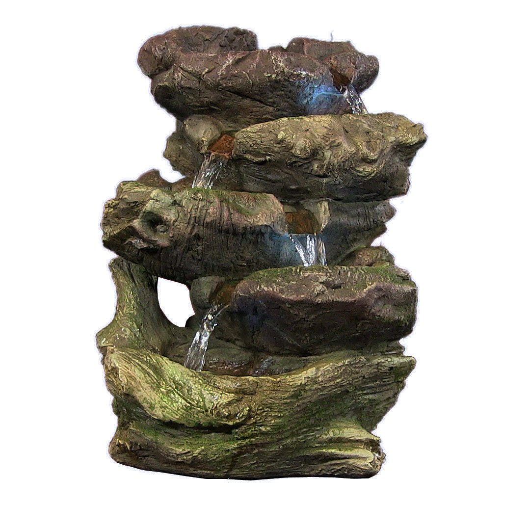 Sunnydaze 5-Step Rock Falls Tabletop Fountain with LED Lights, 14 Inch Tall